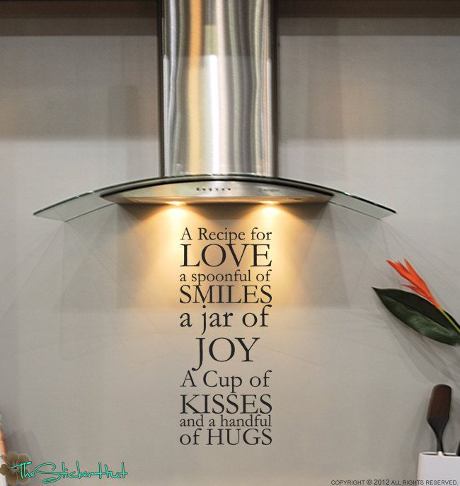 A Recipe for Love Kitchen Vinyl Saying Wall Graphic Decal Sticker 1385. $18.99, via Etsy.