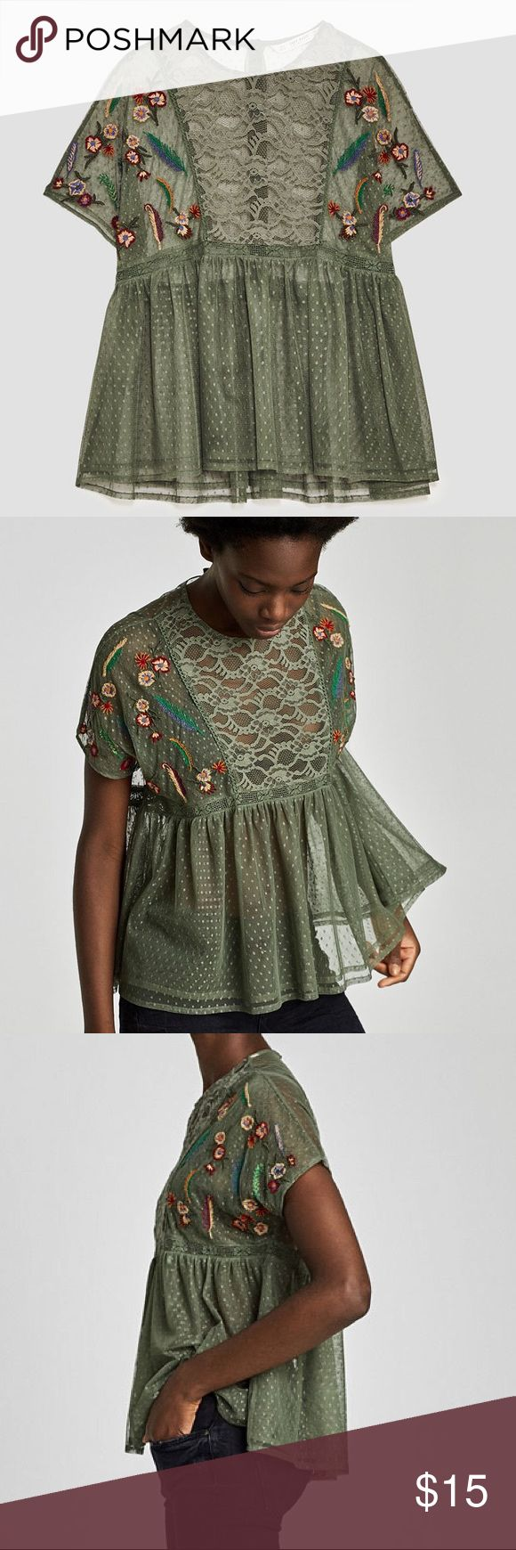 NWT Zara Embroidered Plumetis Blouse in Green Lovely, light & new with tags! Perfect for spring! Round neck blouse with short sleeves and multicoloured floral embroidery on the front. Features a seam below the chest, A-line silhouette and back button fastening.  Outer Shell Main Fabric: 100% polyester Secondary Fabric: 90% nylon, 10%elastane Lace: 100% cotton Embroidery: 100% polyester Zara Tops Blouses