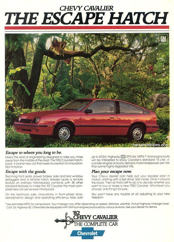 1982 Chevrolet Cavalier - THE ESCAPE HATCH - Original Ad