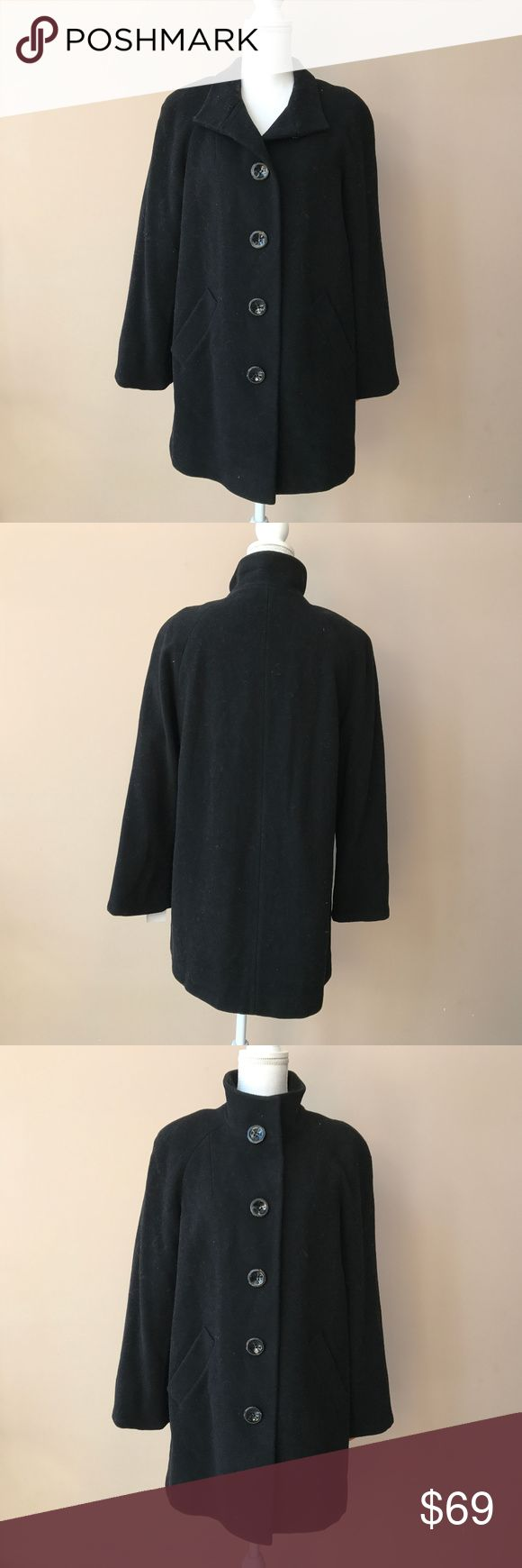 """NEW Appleseed's Balmacaan Black Wool Coat 8P a411 NEW Wool Balmacaan Women's Black Jacket Walker Raglan Sleeve Coat Appleseeds 8P Brand APPLESEED'S Size 8P. Style CAREER, CASUAL, OUTDOOR. Bust measurements (side to side) * 21"""" Waist measurements (side to side) 22"""" Hips measurements (side to side) 23"""" Leigh (from shoulder to the lowest point) 33"""" Color Black Fabric 60% WOOL BLEND (LINED) 30% polyester, 10% viscose. Tags NOT PRESENT Permanent damages, stains or alterations NONE Condition New…"""