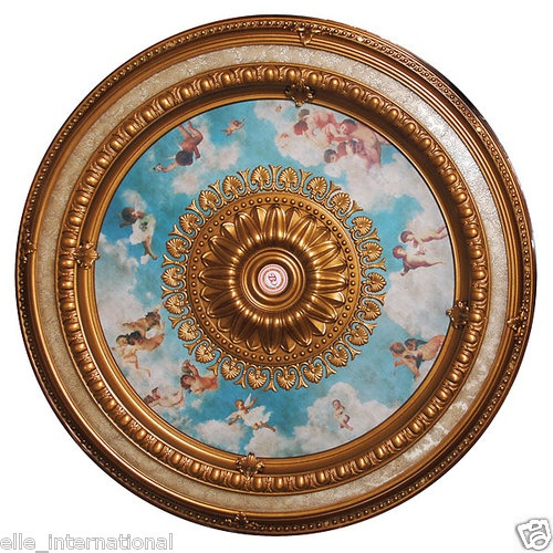 Angel Cherub Ceiling Medallion Blue Sky Religion
