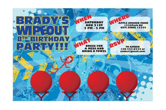 WIPEOUT Birthday Invite by M3AndCo on Etsy, $16.00