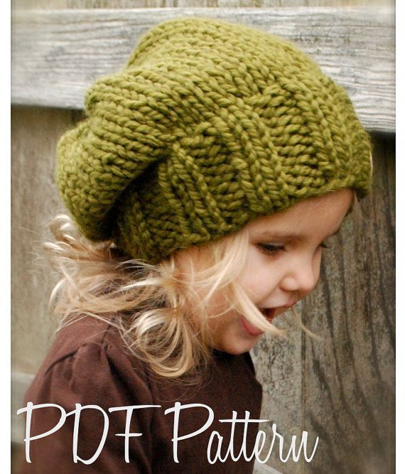 Knitting PATTERN-The Sydnie Slouchy (Toddler, Child and Adult sizes) on Etsy, $5.50
