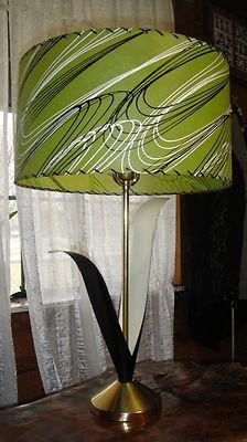 Vtg 50s 60s Table Lamp Mid Century Modern Retro Atomic Fiberglass Shade   eBay