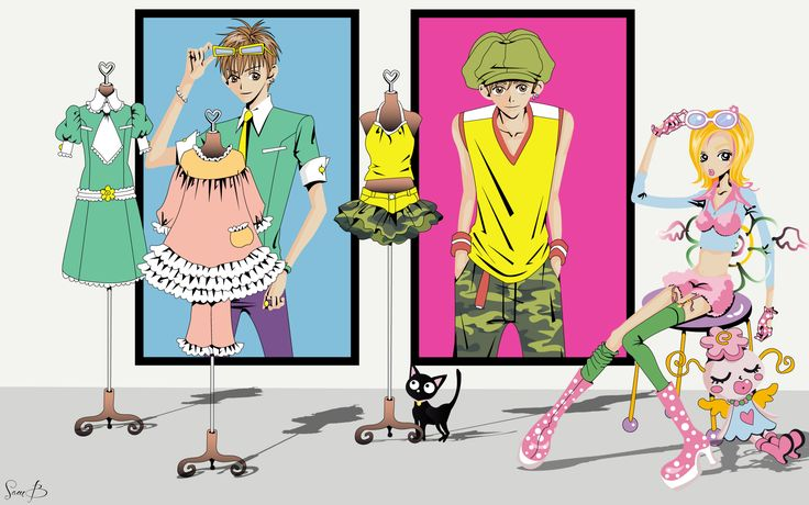 My latest wallpaper, a strong & fashion color wall based on Gokinjo Monogatari by Ai Yazawa.