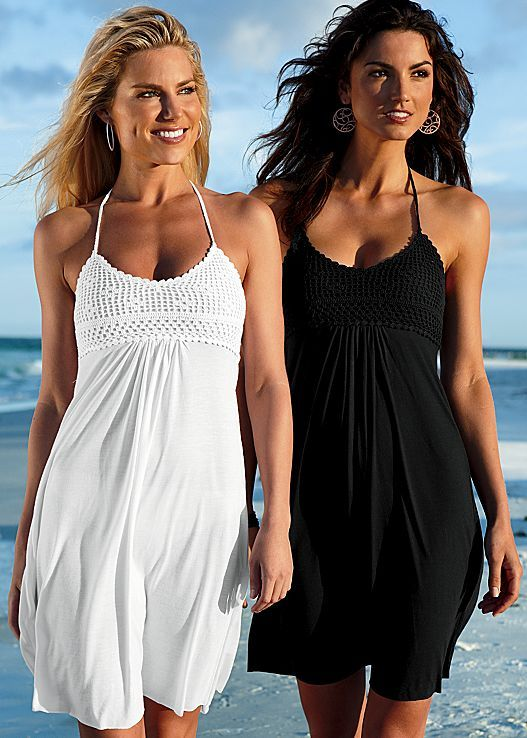 Need a cover-up for the beach? Venus crochet bust halter dress.