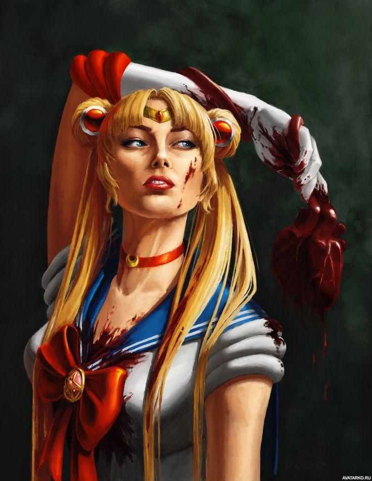 Испасканная кровью Сейлор Мун с вырванным сердцем в руке - картинки и аватары