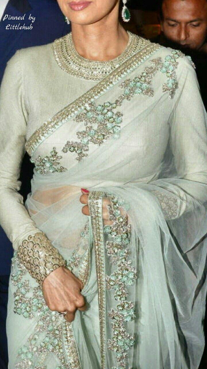 Mint gold saree More