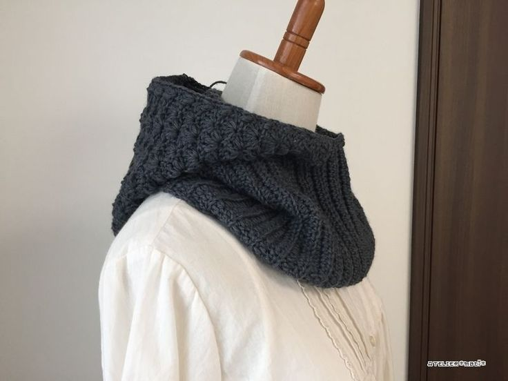 【編み図】ふっくら松編みのパーカ付きネックウォーマー – かぎ針編みの無料編み図 Atelier *mati*