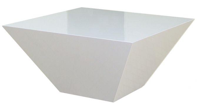 Table basse laquée blanche - Trapez