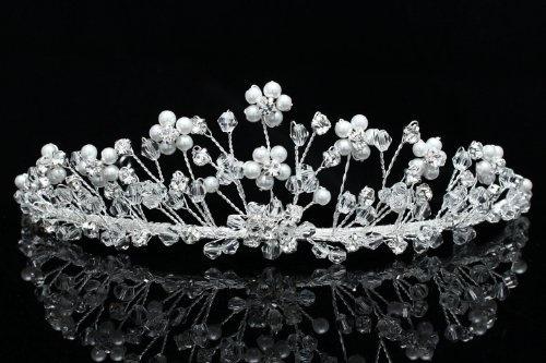 Handmade Rhinestone Crystal Flower Beads Pearl Bridal Wedding Tiara Crown by Venus Jewelry, http://www.amazon.com/dp/B008E0AFXA/ref=cm_sw_r_pi_dp_OCK6pb1TYVY1W