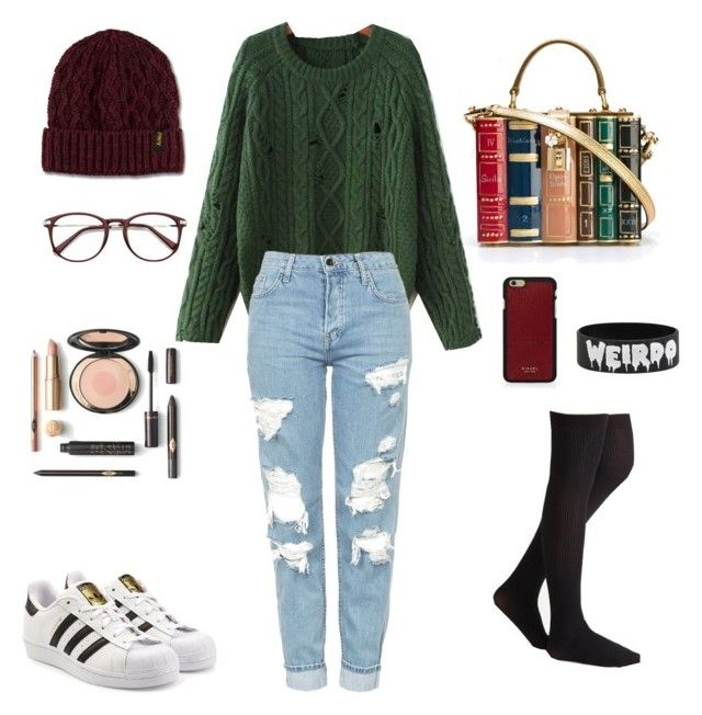 """""""Introvert look"""" by emka-kruta on Polyvore featuring Dolce&Gabbana, WithChic, Topshop, adidas Originals, Vianel and Dr. Martens"""