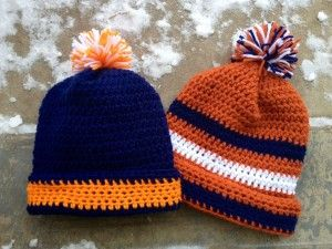 We are big football fans (Go Broncos!) and I love seeing all of the striped ski hats the players wear on the sidelines. There are lots of knitting patterns for this style, but I couldn't find a cut...