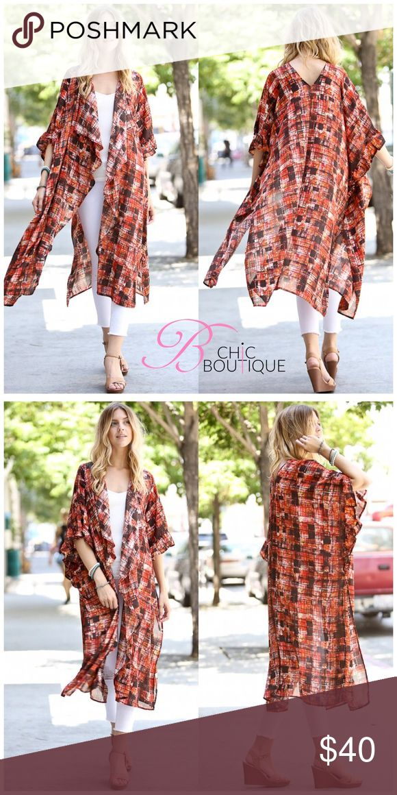 """OSFM- Rust Ruffle Duster Cardigan The Perfect staple to any wardrobe. This long duster cardigan can be worn any season and with anything to spice up your outfit. Ruffle front and two side slits. Approx length 46"""". Made in USA 🇺🇸. ONE SIZE FITS MOST (XS to XXL). Bchic Tops"""