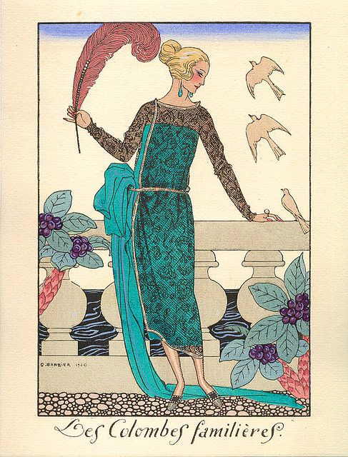 George Barbier-  Les Colombes Familieres ... The familiar doves