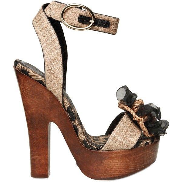 Dolce & Gabbana Women 150mm Raffia Chiffon Flower Sandals ($245) ❤ liked on Polyvore featuring shoes, sandals, beige, wooden high heel sandals, leopard print sandals, platform sandals, wooden-heel sandals and flower sandals