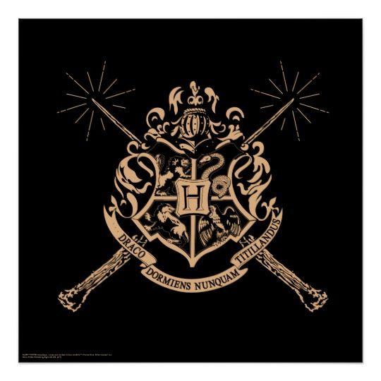 Harry Potter   Hogwarts Crossed Wands Crest Poster