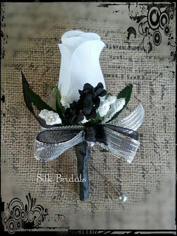White black silver Boutonniere rose Groom groomsman bridal