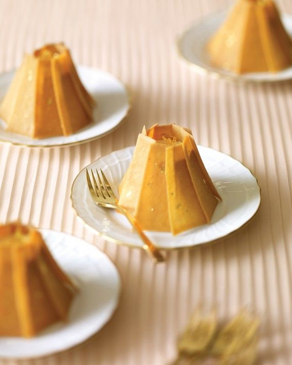 For a more formal affair, these desserts pack rich flavor and plenty of drama. Arrange gold-flecked tuile cookies into shells that look like pleated skirts and conceal the main event: creamy caramel apple mousse.