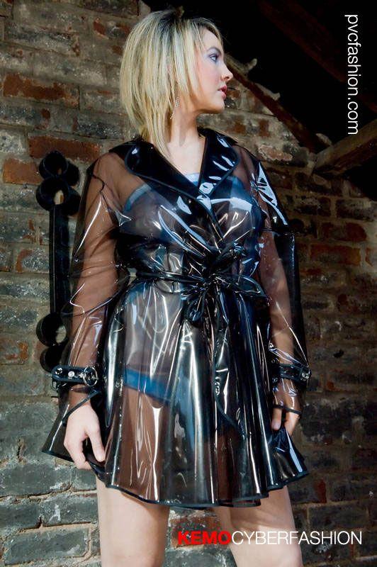 short clear black PVC Rain Mac - Regenmantel | PVC ...