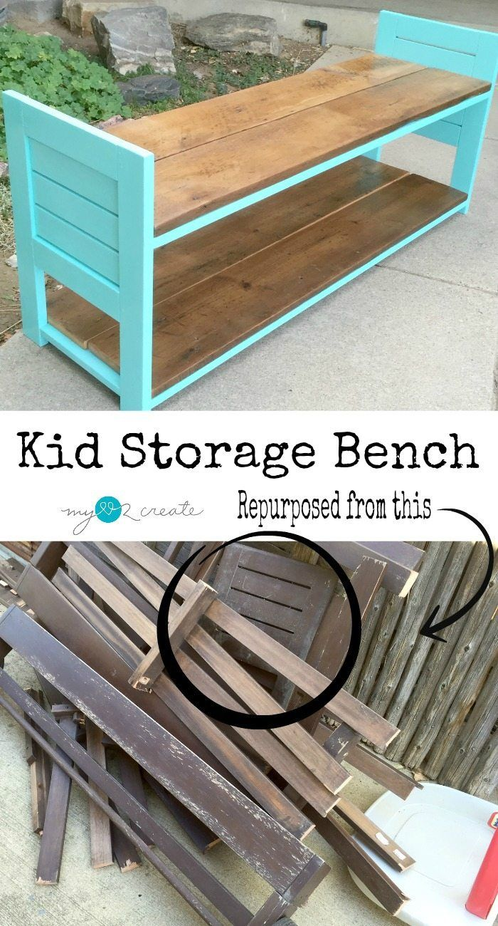 Build a fun kid storage bench out of reclaimed materials! Ashlyn Bougher