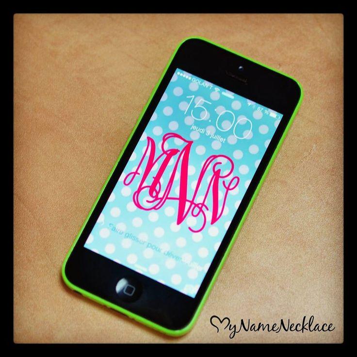 Phone With MNN Monogram Wallpaper Design. Design your own #Monogram phone wallpaper at #MyNameNecklace