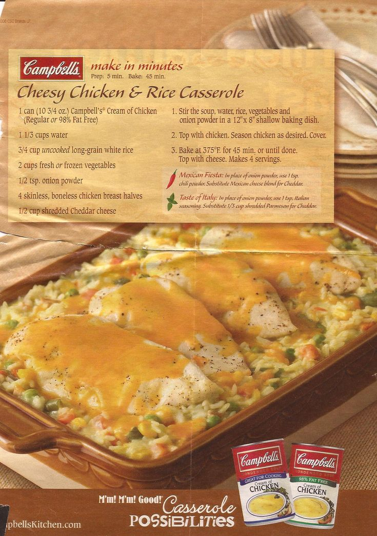Cheesy Chicken & Rice Casserole - Added a small container of French Fried Onions instead of the onion powder and put about 1/2 cup of cheese in with the soup mixture. Took more than 45 min to cook so I was the only one who tried it. Next time, will probably cut chicken breasts in half, at least.