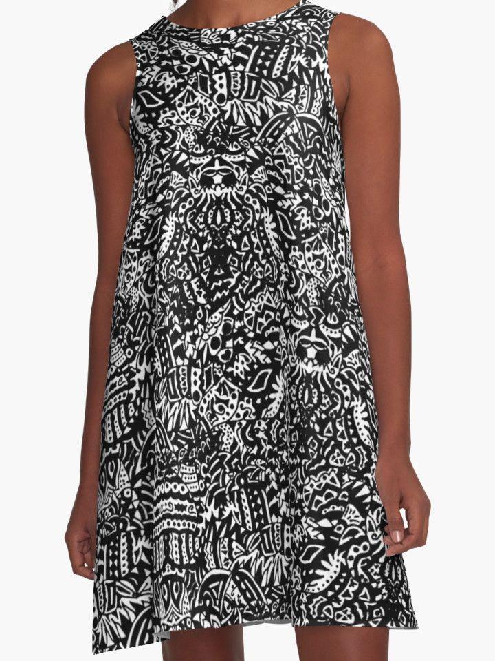 """Black and White Tribal Pattern"" #dress  by MaksciaMind  #fashion #clothing #abito #design #tribal #mandala #illusion #curves #black #blackandwhite #onlinestore #maksciamind #woman #trends"