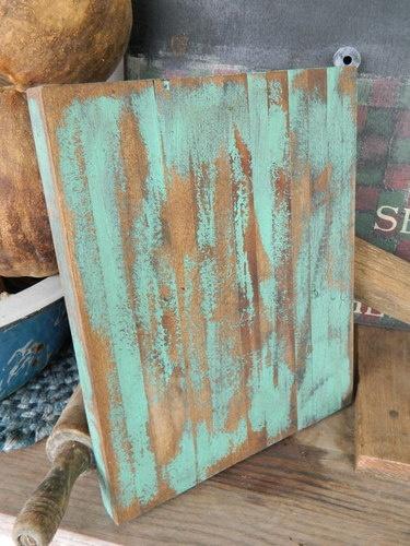 Primitive Folk Art Distressed Robin Egg Blue Green Cutting Bread Board | eBay