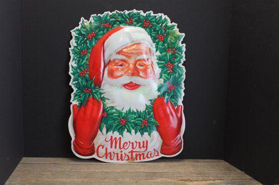 Mid Century Plastic Santa Merry Christmas Sign Window Decoration Adorable Retro Merry Christmas Sign Christmas Signs Window Decor