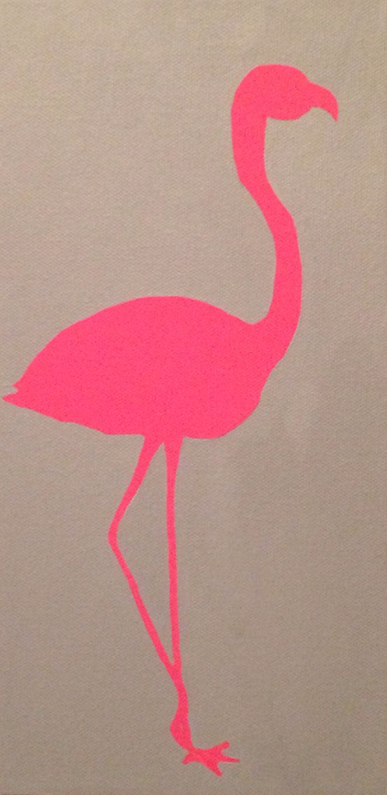 """Flamingo Silhouette Painting, Acrylic on Canvas, 6"""" x 12"""", Custom Made, Various Sizes & Colors Available"""