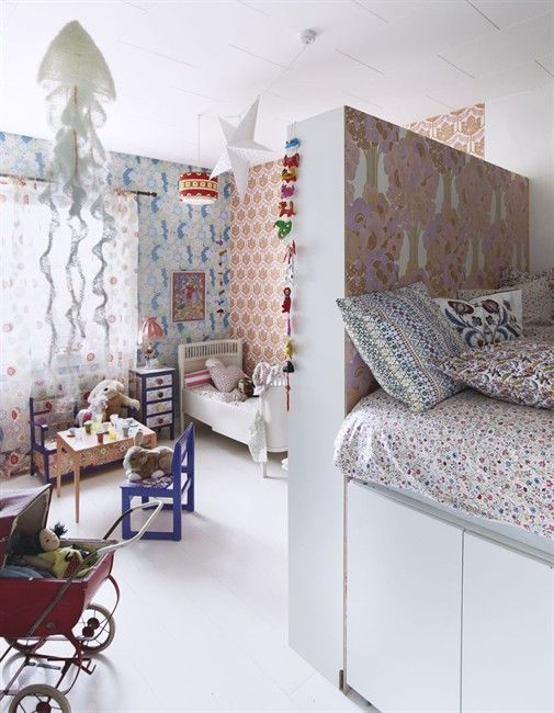 great mix of patterns in children's bedroom