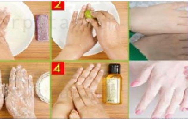 Étape 1 – Nettoyage Prenez de l'eau chaude, ajoutez quelques gouttes de shampoing Bien mélanger Faites tremper vos mains pendant 5 minutes Après 5 minutes exfolier vos mains à l'aide de brosse Lavez-les à l'eau normale et laissez sécher Étape 2 – Trempe Prenez de l'eau chaude Ajouter le jus d'un demi citron Ajouter 3-4 …