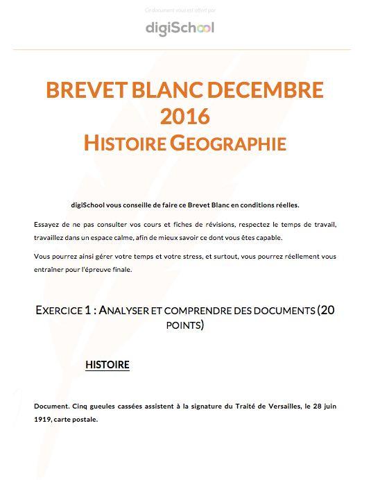 Sujet Brevet Blanc Histoire Géographie - Brevet des Collèges
