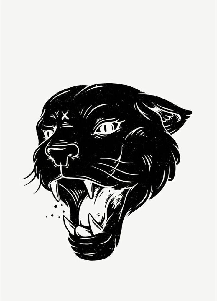 картинка тату животных голов черно белое для руки