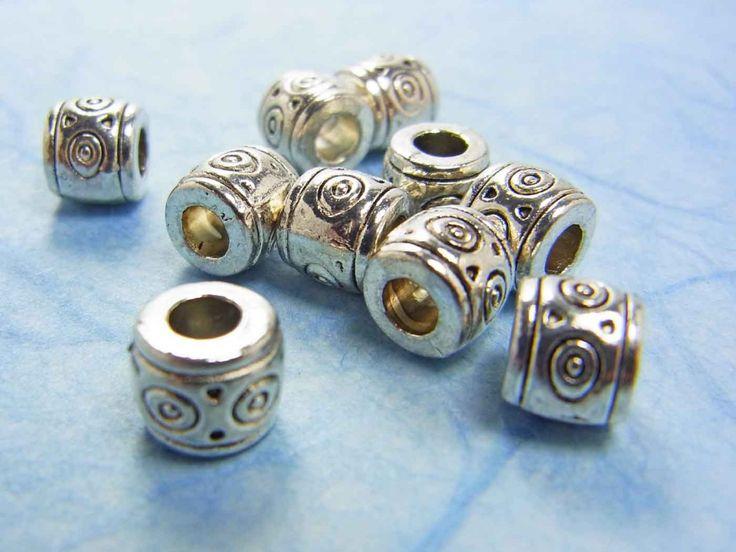 Metallperle, Walze mit Muster, 7 mm, silberfarben 10 Stück - Perlenschatz Hamburg