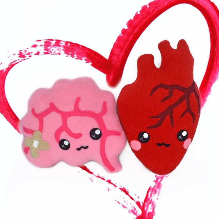 LOVE pack - heart and brain plushies kawaii novelty pillows by Plusheez on Etsy