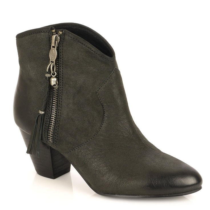 Ash Jessbis Black Leather Ankle Boot Black Heel