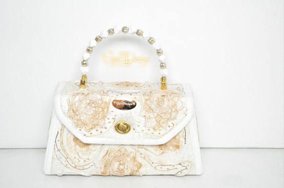 NEW Hand painted lace purse ivory beige gold handbags