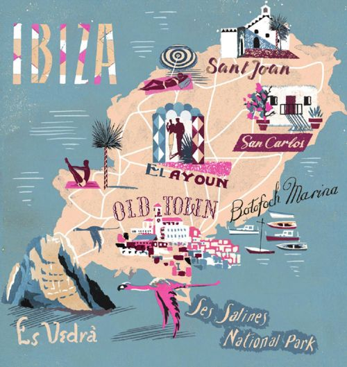 iˈβiθa - fun #map illustration of the island of #Ibiza #Spain. By Anna Simmons