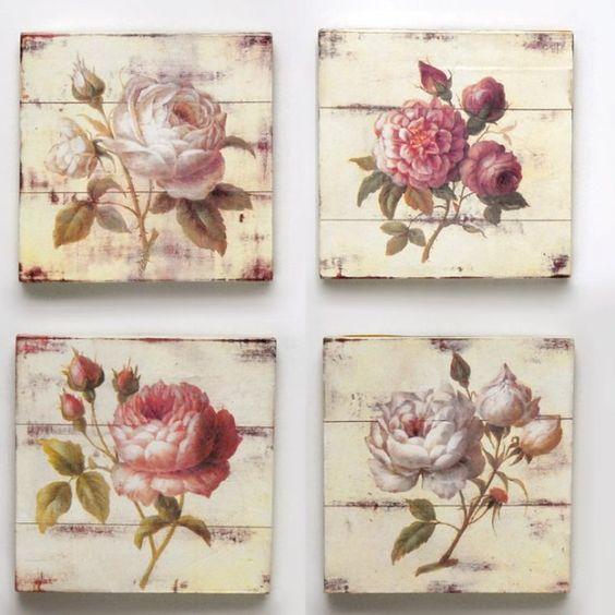 Cuadros flores, madera patina    Medidas: 25x25x3 muy lindos:
