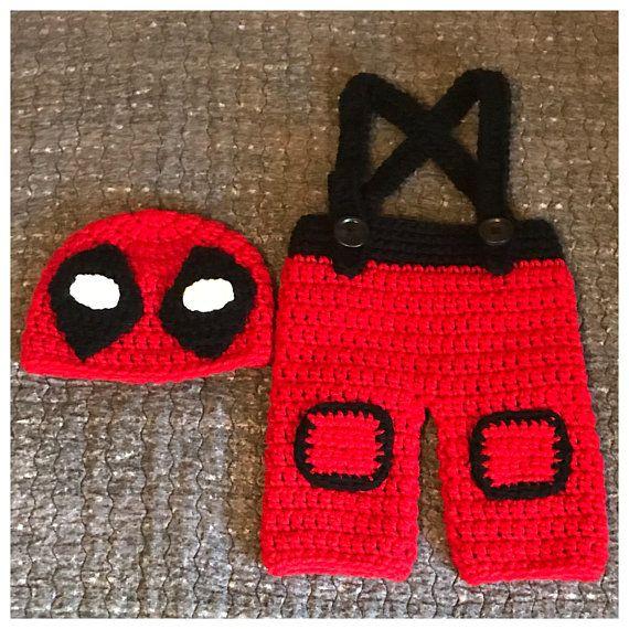 Crochet Baby Deadpool Costume Baby Deadpool Outfit Newborn Deadpool Costume Baby Deadpool Deadpo Newborn Crochet Photo Props Crochet Costumes Crochet Baby