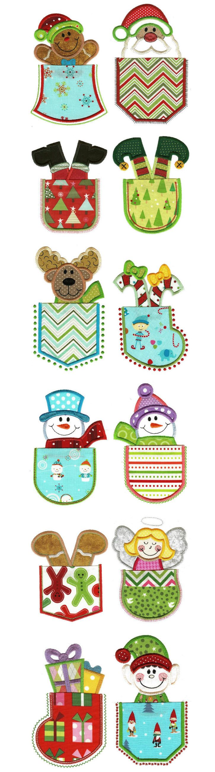Christmas pockets applique machine embroidery designs by