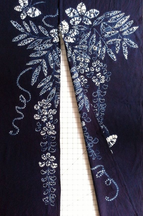 New Japanese cotton Noren Curtain cloth  Indigo shibori Tie