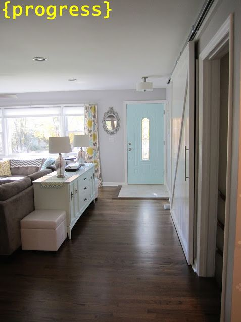 Floor Entry With Inside Of Front Door Painted Light Blue Behr Teal Ice Gray Walls Gentle Rain And Dark Floors
