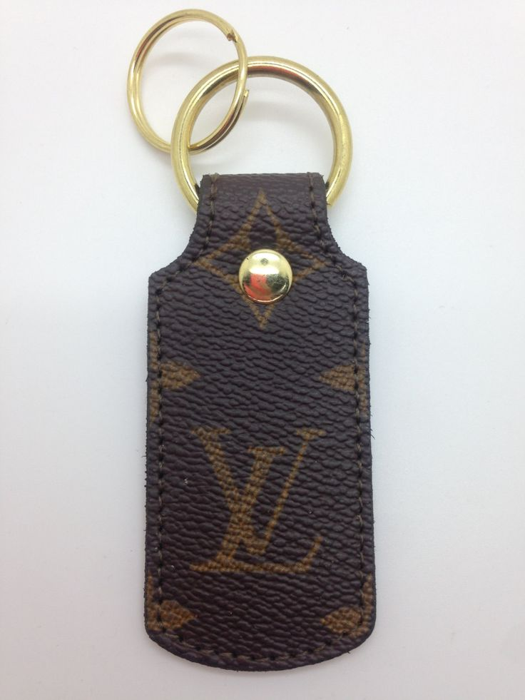Louis Vuitton keychain fob rectangle made from re-purposed LVMH hand bag by SecondLifeItems on Etsy