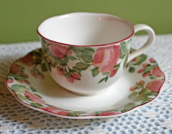 Porcelain Teacup Saucer and Plate Set by Nikko Tableware Japan. Hand Painted with Desert Rose Pattern on the Rim. Very good condition. No chips u2026 & Porcelain Teacup Saucer and Plate Set by Nikko Tableware Japan ...