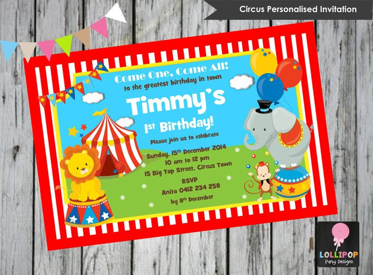 Circus Personalised Invitation - Printed AU$1.00 only!  Digital Printable - Invites - Digital Print - DIY - First Birthday Party - 1st Birthday