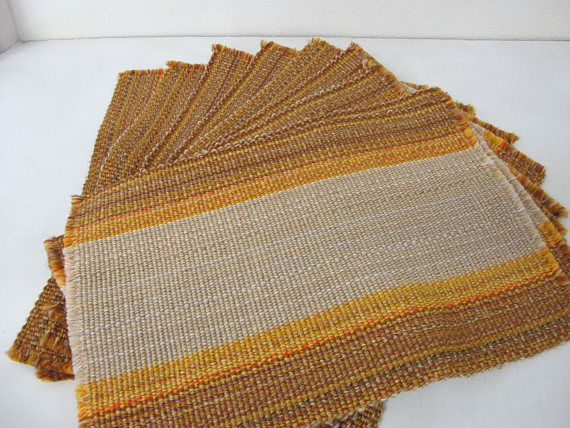 Woven Placemats Set 1960's Placemats Fall Color Placemats Set of 10 Danish Modern Placemats