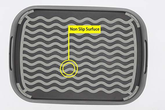 Chopmaster Large Rectangular Anti Slip Serving Tray With Handle Black Dishes Trays Platters